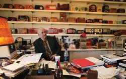 "Cliff Freeman of Cliff Freeman and Partners, collector of vintage radios and the man who created ""Where's the beef?"" for Wendy's, in his New York City office."