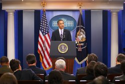 U.S. President Barack Obama speaks to the media at the briefing room of the W...