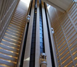 The lobby elevators at the Marriott Marquis in Times Square, New York City