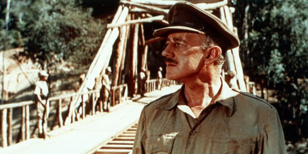 "Alec Guinness stars in ""The Bridge on the River Kwai."""