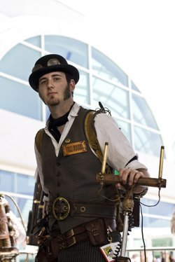 A steampunk with a tuning fork at 2010 Comic-Con International.