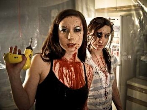 "Filmmakers and stars Sylvia and Jen Soska in ""Dead Hooker in a Trunk."""