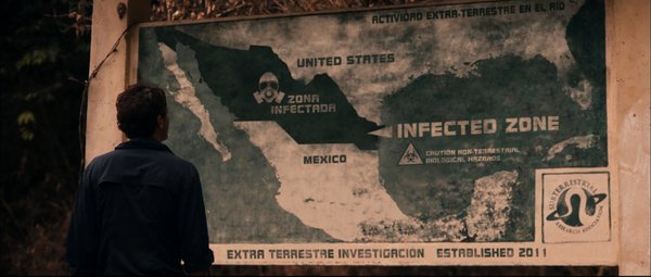 "Checking out the infected zone in ""Monsters."""