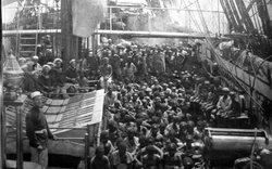 Archival image of the slave trade depicting East African slaves taken aboard ...