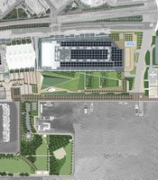 An artist's rendering illustrates the plans for expanding the Convention Center, including a five-acre rooftop park.