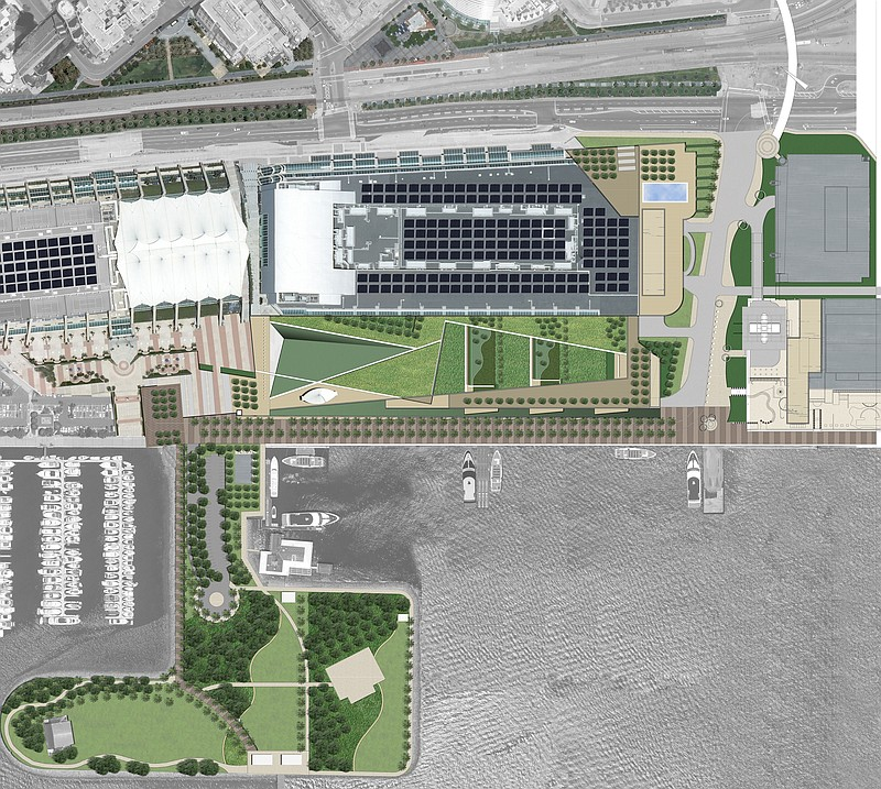An artist's rendering illustrates the plans for expanding the Convention Cent...