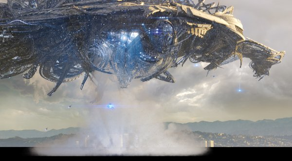 "Alien ships -- that look a lot like the one in ""District 9"" -- hover over Los Angeles in ""Skyline."""
