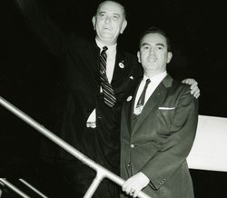 Lyndon Johnson standing beside Hector Garcia in the early 1960s.