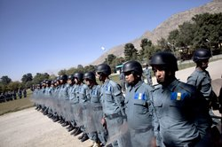 Afghan police recruits undergo training at the Afghan Police Academy October 5, 2010 in Kabul, Afghanistan.