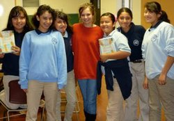 Emma Halpern's book club at Nativity Prep Academy. From left to right: Jessica, Corrinne, Karen, Emma Halpern (the facilitator), Daviana, Angelica, Christina