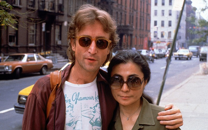 John Lennon and Yoko Ono on the street in New York City.