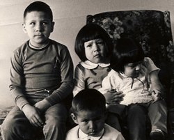 An undated photograph of the four Crow Indian children, (left to right) Tyler, Bobby, Lana and Janelle, before they were adopted in 1971 by the Billing family.