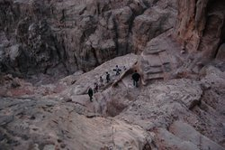 Tom Levy and colleagues hike to the Edomite highlands near Petra, Jordan.
