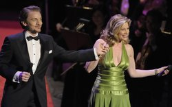 "Jason Danieley and Marin Mazzie perform on stage for ""Sondheim! The Birthday Concert."""
