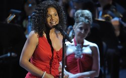 "Audra McDonald performs on stage for ""Sondheim! The Birthday Concert."""