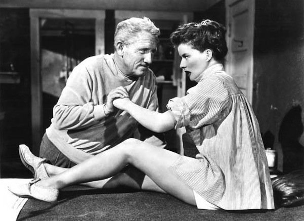 "Spencer Tracy and Katherine Hepburn as the title characters of ""Pat and Mike."""