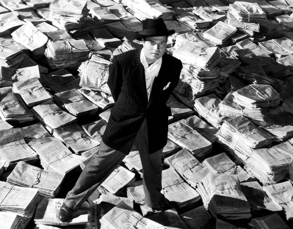 "Orson Welles as the title character in ""Citizen Kane,"" which he also directed."