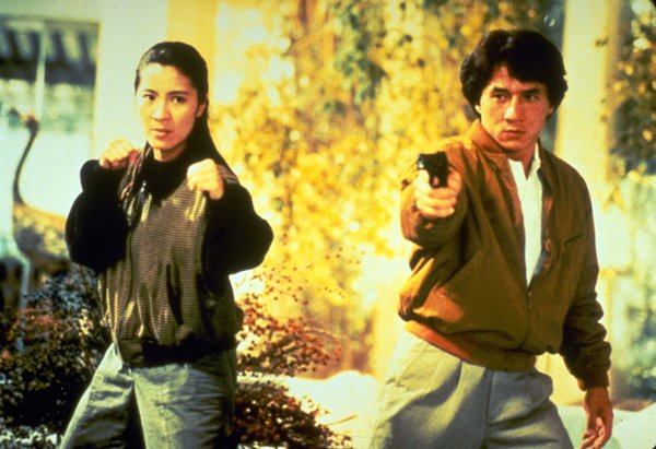 "Michelle Yeoh stars with actor, stuntman, and sometime director Jackie Chan in ""Supercop."""