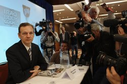 Wikileaks founder Julian Assange holds a press conference at Park Plaza Hotel...