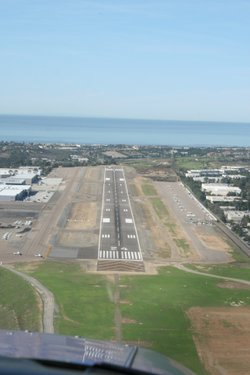 The landing strip at McClellan-Palomar Airport in Carlsbad, CA. The runway ex...