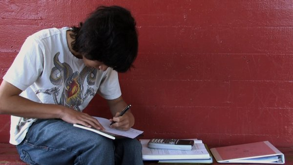 "A student coping with homework in the documentary ""Race to Nowhere."""