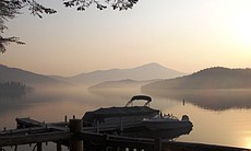 A misty spring morning at the Lake Placid Lodge, a luxurious Adirondack resort.