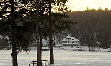 Lower Saranac Lake, frozen in the dead of winter.