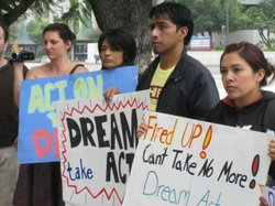 Young DREAM Act supporters rally in downtown Los Angeles, December 2, 2010