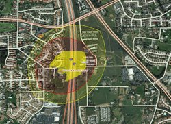 The map at the link below shows approximate boundaries for evacuation and shelter-in-place zones around the property. Yellow diagonal shading: shelter in place. Red diagonal shading: evacuation.