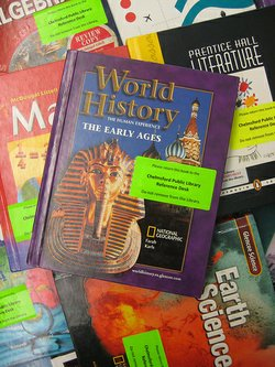 A collection of the textbooks used by the local middle schools.