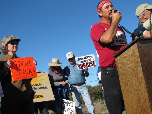 David Elliott, a member of the the Manzanita branch of the Kumayaay Tribe in Southeastern California, speaks to the protesters outside the Sunrise Powerlink construction site.