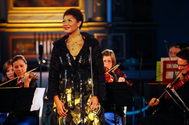 Promotional photo of Canadian soprano, Measha Brueggergosman, who delighted millions of international television viewers when she sang at the Opening Ceremony of the 2010 Olympics.
