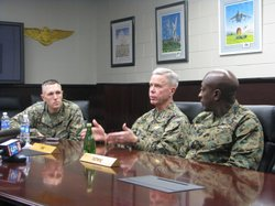 Major General James Amos, Commandant of the Marine Corps, speaking to reporters on MCAS Miramar during his Introduction Tour.