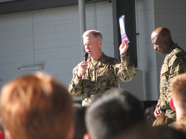 General Amos speaking to Marines at MCAS Miramar