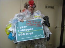 Michael Wonsidler, a recyling specialist with San Diego County, dresses up as...