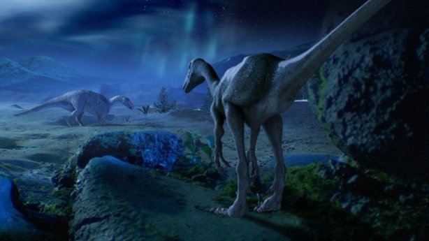 Troodon hunting for hadrosaur. This program aims to explain how dinosaurs managed to survive and even thrive in the gloom of the dark and frigid polar regions. Visual effects and animation: TPD Media; CGI dinosaurs created by Bevan Lynch, Equinox Design and Visual Effects