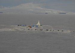 Aerial of the ANDRILL drill rig on the sea ice of McMurdo Sound