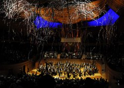 Aerial view of the Los Angeles Philharmonic Orchestra celebration in the Walt...