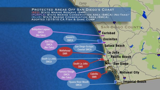 Areas off San Diego County's coast will now be part of a statewide system of ...
