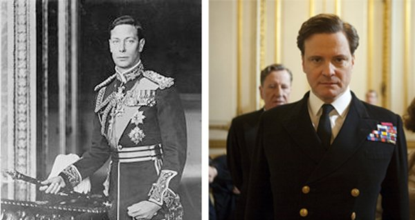 "An official portrait of the real King George VI and Colin Firth as his cinematic incarnation in ""The King's Speech."""