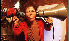Tom Waits, fisheye style with bullhorns.  (8812)