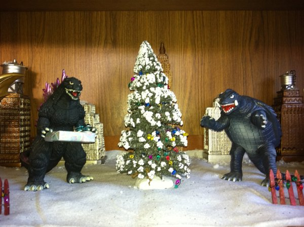 KPBS film critic Beth Accomando sent me this photo of her Godzilla holiday diorama. I've been to her house - this is just one of many dioramas!