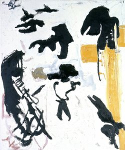 "Don Van Vliet, aka Captain Beefheart, was also a respected painter. This is his painting titled ""Cross Poked Shadow of a Crow No. 1"" (1990). Oil on canvas. 58"" x 48"""