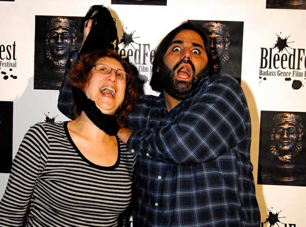 Me hanging out on the red carpet and having fun with Miguel Rodriguez (founder of San Diego's Horrible Imaginings Film Festival).