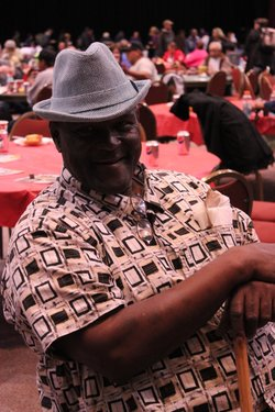 """""""Lewis"""" wears a tweed fedora he got at Project Homeless Connect, San Diego, January 5, 2011."""