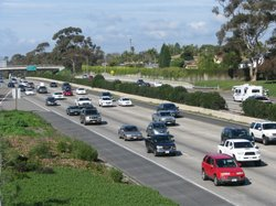 Vehicles travel north on Interstate 5 in North County, Jan. 7, 2011.