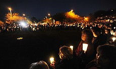 People gather for a vigil at University Medical Center for U.S. Rep. Gabrielle Giffords (D-AZ), who was shot during an event in front of a Safeway grocery store January 8, 2011 in Tuscon, Arizona.