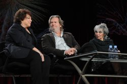 """During PBS' AMERICAN MASTERS """"Jeff Bridges: The Dude Abides"""" session at the TCA Winter Press Tour in Pasadena, CA on Saturday, January 8, 2011, actor Jeff Bridges (center), filmmaker Gail Levin (right) and series creator and executive producer Susan Lacy (left) discuss the upcoming documentary profiling Bridges."""