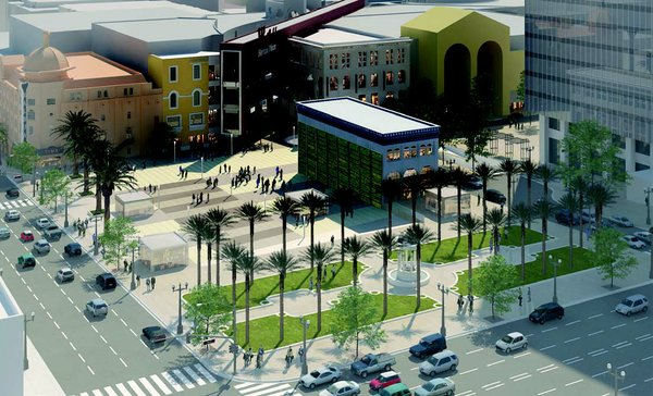 An artist's rendering of what the park near Horton Plaza might look like.