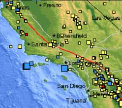 This USGS map shows the size and location of recent earthquakes in Southern California, including two offshore temblors that shook the region on January 11, 2011.